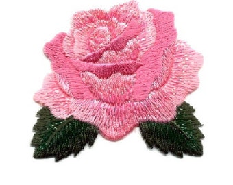 Rose - Pink - Gardening - Flower - Rose Bloom - Embroidered Iron On Applique Patch