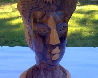 """Woman's Head Carving/Carved Wood Head/10"""" Woman's Head/Ethnic Art Woodcarving/Nubian Queen Bust/Carved Woman's Head/African Wood Art/"""