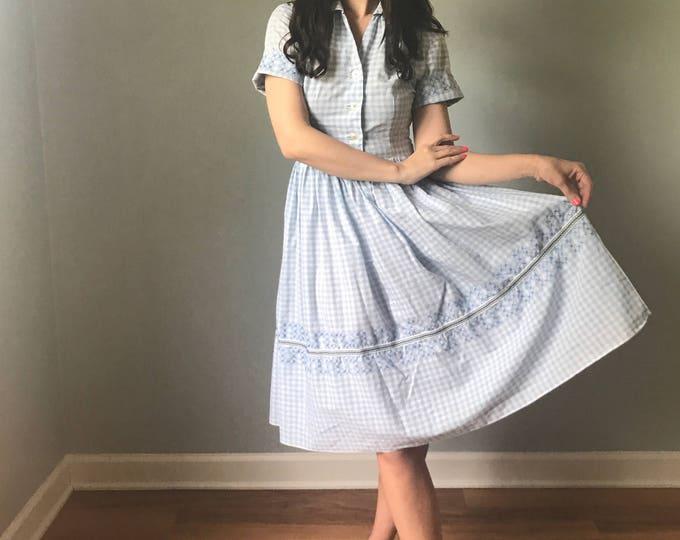 Vintage 50s Handmade New Look Blue Gingham Dress