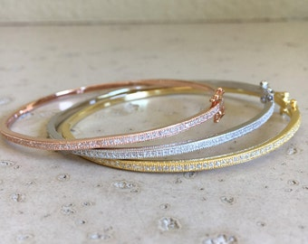 Cubic Zirconia Bangle- Rose Gold Bracelet- Layering Bangle Bracelet- Stackable Thin Bracelet- Boho Chic Bracelet