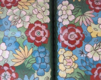 ASIAN Art Deco Enamel Floral Pattern Metal Boxes. Set or 2 Matching. John Wannamakers, Philadelphia, Chinese Collectibles, Asian Home Decor