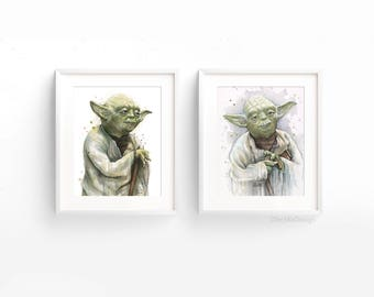 Yoda Art Print Set Yoda Wall Art Yoda Painting Yoda Artwork Jedi Watercolor Sci-Fi Painting Yoda Fan Art - Set of 2 Giclee Art Prints
