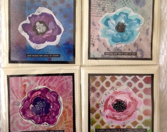 Set of 4 Large Mixed Media Greeting Card Notelets Handpainted Floral Flower Gift for Her Set 1