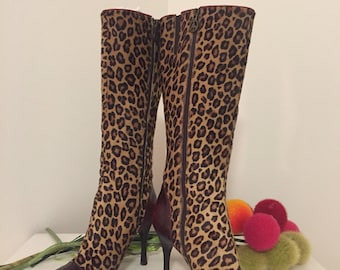 LEOPARD BOOTS, By Donald J Pliner, Size 6, Made in Italy, Leather and Fur, High Heel Boots, Couture Boots, Italian Boots at Ageless Alchemy