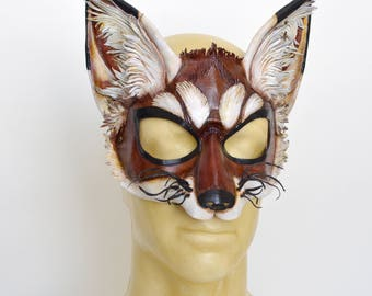 Red Mahogany Brown Leather Fox Vixen Cosplay Mask with Leather Whiskers