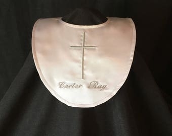 Personalized Christening/Baptism Bib Unisex Boy or Girl Satin With Embroidered Name