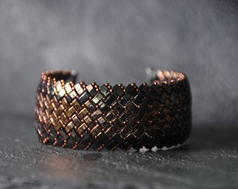 A Beautiful Herringbone Half Tila beads Bracelet, Handmade, Beaded Cuff, Miyuki crystal beads