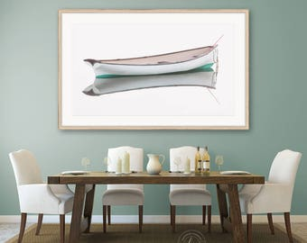 Framed Panoramic Boat Print, White Rowboat Photography, Coastal Nautical Wall Art, Large Framed Art, Cape Ann Art, High Key, Neutral Artwork