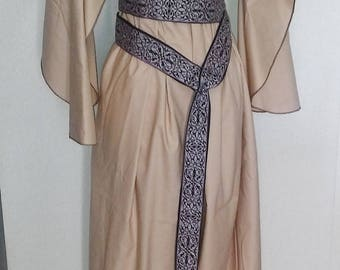 Butterfly Underdress in Tan Cotton, Butterfly Sleeves, Kirtle, Under Dress
