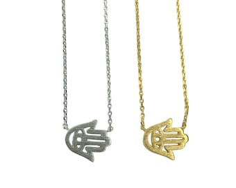 Tiny Hamsa Necklace, Silver Sideways Hamsa Necklace, Hand of Fatima Necklace, Tiny Hamsa, Tiny Hand, Sideways Hand, Evil Eye