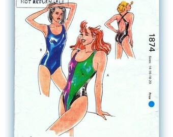 Swimsuit Sewing Pattern Women's Kwik Sew 1874 Vintage 80's Women's Swimsuit Pattern