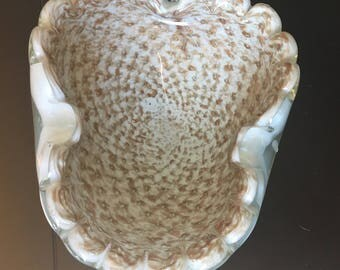 Mid Century Gold Speckled Glass Candy Dish/ Ash Tray