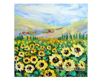 "Sunflower Field Landscape Tuscany Italy Palette Knife Textured Impasto Oil Painting on Small Canvas 8x8"" Original Art Gift for Her, Mother"