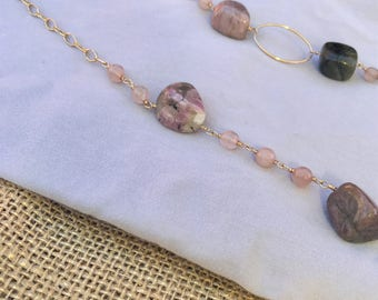 Long Beaded Necklace with Tourmaline