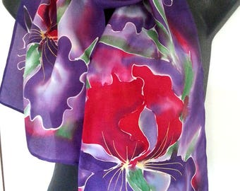 IRIS Flower RED Silk Scarf, New Zealand, Red and PURPLE Iris Silk Scarf, Hand painted, Floral scarf, Gift Card included, 28cm x 150cm Long