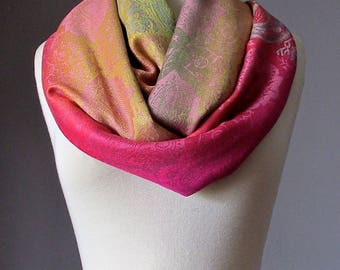 Ombre scarf, infinity scarf, pashmina wrap, fall scarf, paisley scarf, Pastel Pink
