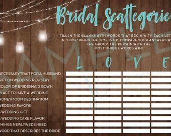 Rustic Bridal Scattegories Game