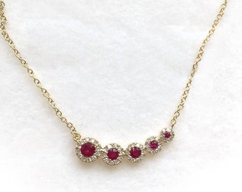 Enticing 14k Rose Gold .13 ct Diamond 0.22 Ruby Circles Necklace