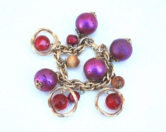Purple & Pink Charm Bracelet ~ Vintage Chunky Ball Cork and Lucite Marble Swirl Beads