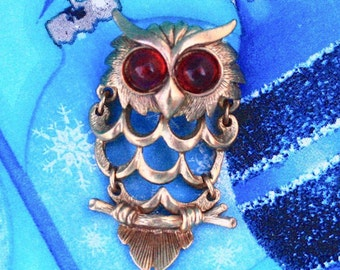Articulated Owl Brooch - Vintage Bird Pin w/ Red Lucite Cab Eyes