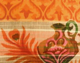 Vintage Japanese cotton yukata fabric. Meisen kasuri kimono fabric