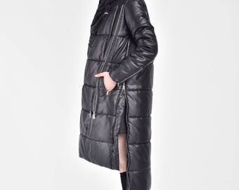 NEW Winter Coat Asymmetric Black Quilted Hooded Coat by Aakasha  A20629