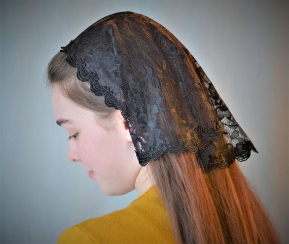 Soft Black Lace Kerchief Veil | Head Covering Black Veil Black Mantilla Black Veil for Mass Veils Robin Nest Lane Catholic Chapel Veil