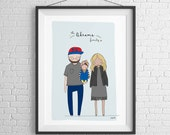 Custom family portrait. Cute, quirky, unique illustration of the whole family.
