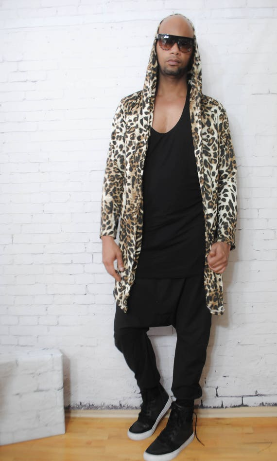 Cheetah Printed Drape Open Front Hoodie Long Length Inspired By Gucci Balmain Verace