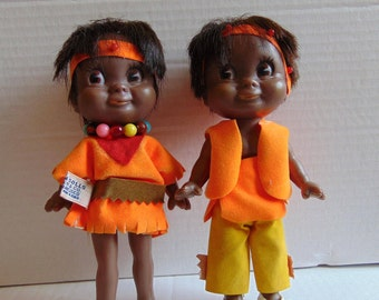 Boy & Girl Native Indian Vintage R. Dakin Dream Dolls Collectible Dolls Vintage 1970's Made in Hong Kong