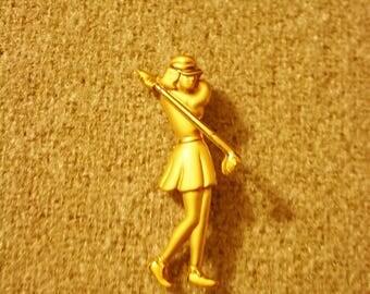 Golfer Lady Brooch, Golf Pin, Golf Jewelry, Estate Jewelry