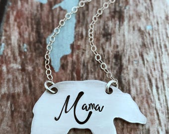 Mama Bear Necklace, Necklace for Mom, Jewelry for Mom, New Mom Gift, Gift for New Mom, Mothers Necklace, Momma Bear Necklace