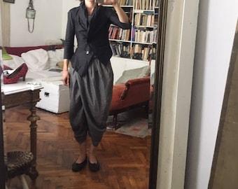 Silk Black Avant garde Blazer / Jacket S / 36 / Asymmetric