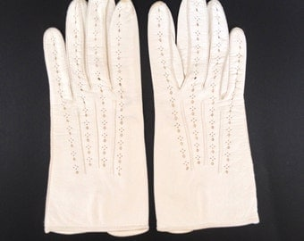 White Leather Driving Gloves, Womens Short Gloves, Unlined Gloves, Sporty Gloves from Italy
