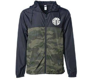 Custom Embroidery Mens Camo and Black Colorblock Hooded Wind Windbreaker Jacket