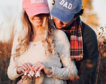 Mom & Dad Unstructured Dad Hat Gift or Baby Announcement Coral, Royal and White or Your Color Choice