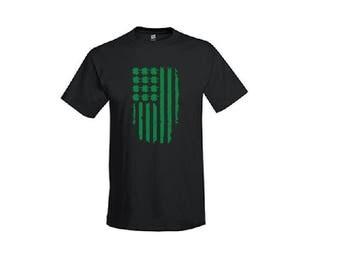 Mens America Shamrock Shirt - Saint Patricks Day T-Shirt. Long Length Tee. Black, White, Grey
