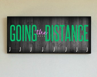 """Race Medal Holder /  Race Medal Hanger. """"Going the Distance"""" Wood Wall Mounted Wood Organizer. CUSTOMIZATION Available"""