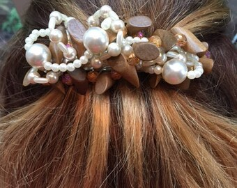 Hand Beaded Barrette With Wood Beads ,Pearls And Crystals
