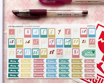 Days and Dates 03 Planner Journal Scrapbooking Kiss Cut Stickers
