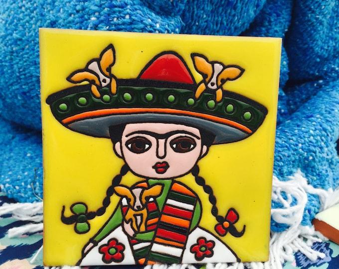 Frida Kahlo Art / Day Of The Dead / Frida Kahlo Painting / Frida Kahlo Tile / Sombrero / Chihuahua