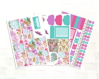 August Monthly View Summer Butterfly Planner Sticker Kit, Vinyl Stickers, Floral, Erin Condren Sized
