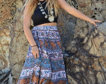Indian circle skirt vintage hippie maxi boho goddess tigerselephant peacock blue white brown floral print handmade