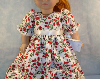 18 Inch Doll Clothes - Red Roses on Ivory Ball Gown handmade by Jane Ellen