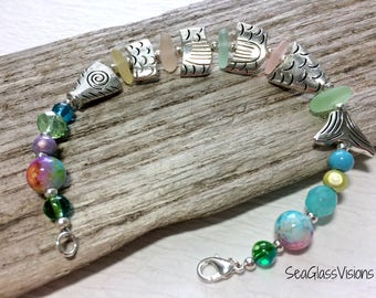 Sea Glass Bracelet, Fish Charms, Beach Glass Bracelet, Pastel Sea Glass, Fish Jewelry, Beaded Bracelet, Boating Jewelry, 8 1/2 Inches