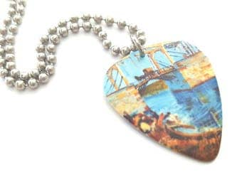 Van Gogh Guitar Pick Necklace with Stainless Steel Ball Chain - gift for artist