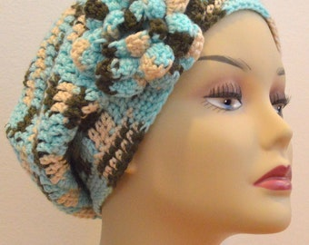 Slouch hat with triple layer flower
