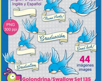 Swallow Clipart, graduation clipart, good luck illustrations, english and spanish Set 135