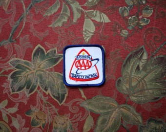 Vintage AAA Safety patrol Embroidered Patch. Retro Red White Blue 80s Collectible Patch. Vintage Triple A Safety Patrol Collectible