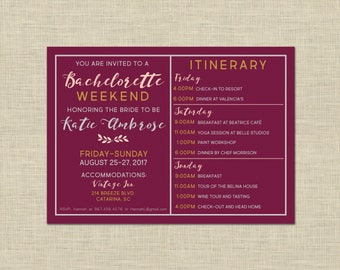 Printable Bachelorette Party Weekend invitation and itinerary custom printable 5x7, Hen's Night, bridal, weddings